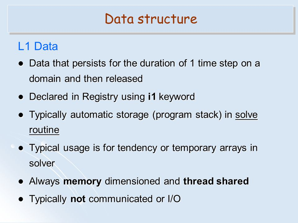 Data structure L1 Data. Data that persists for the duration of 1 time step on a domain and then released.