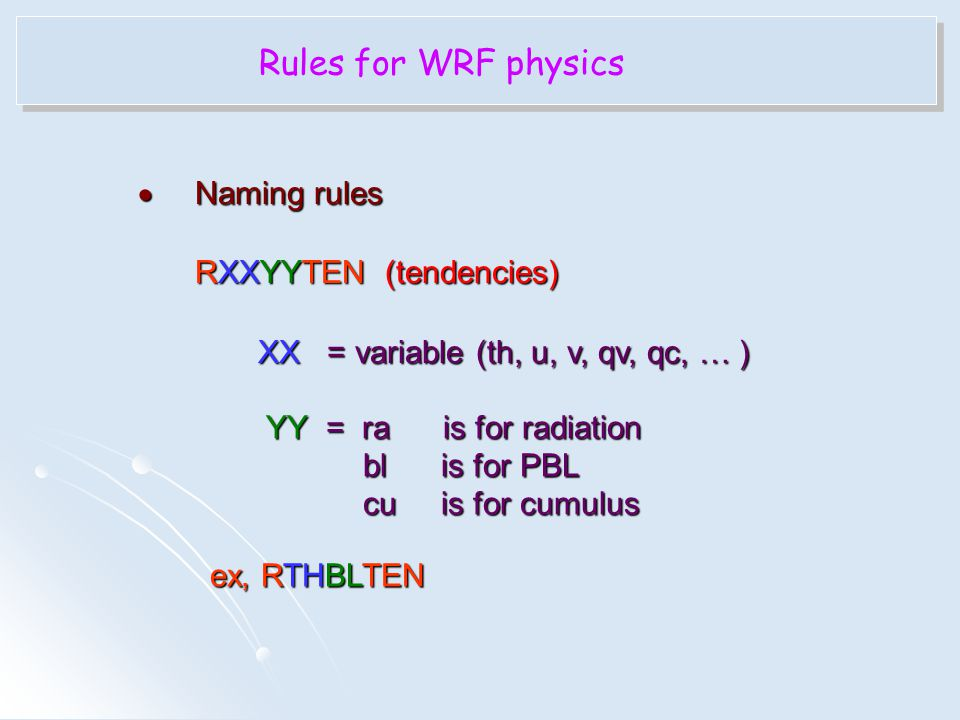 Rules for WRF physics Naming rules RXXYYTEN (tendencies)