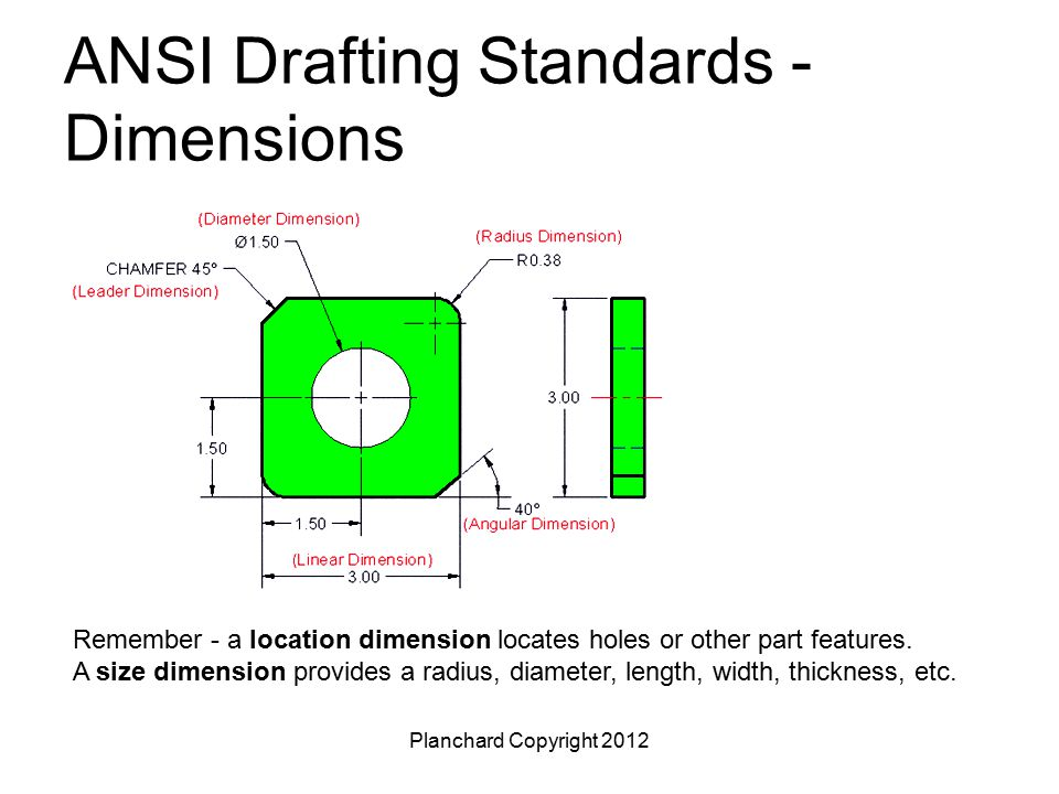 Drafting and dimensioning standards ppt video online for Standard blueprint size
