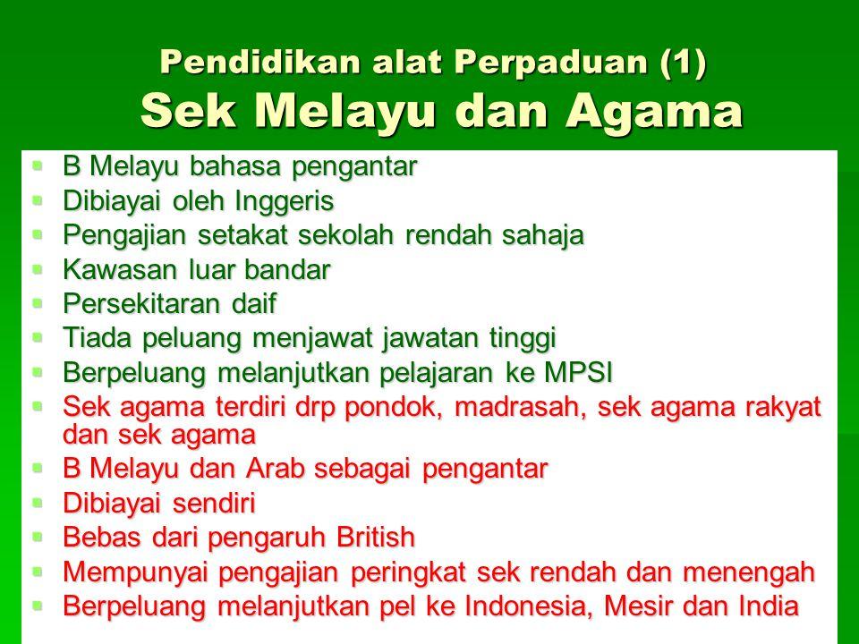 Pendidikan alat Perpaduan (1) Sek Melayu dan Agama