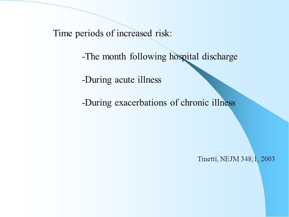 Time periods of increased risk: