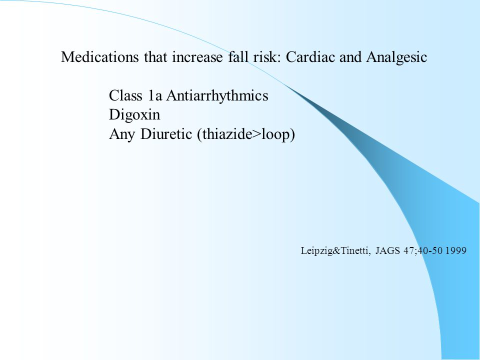 Medications that increase fall risk: Cardiac and Analgesic