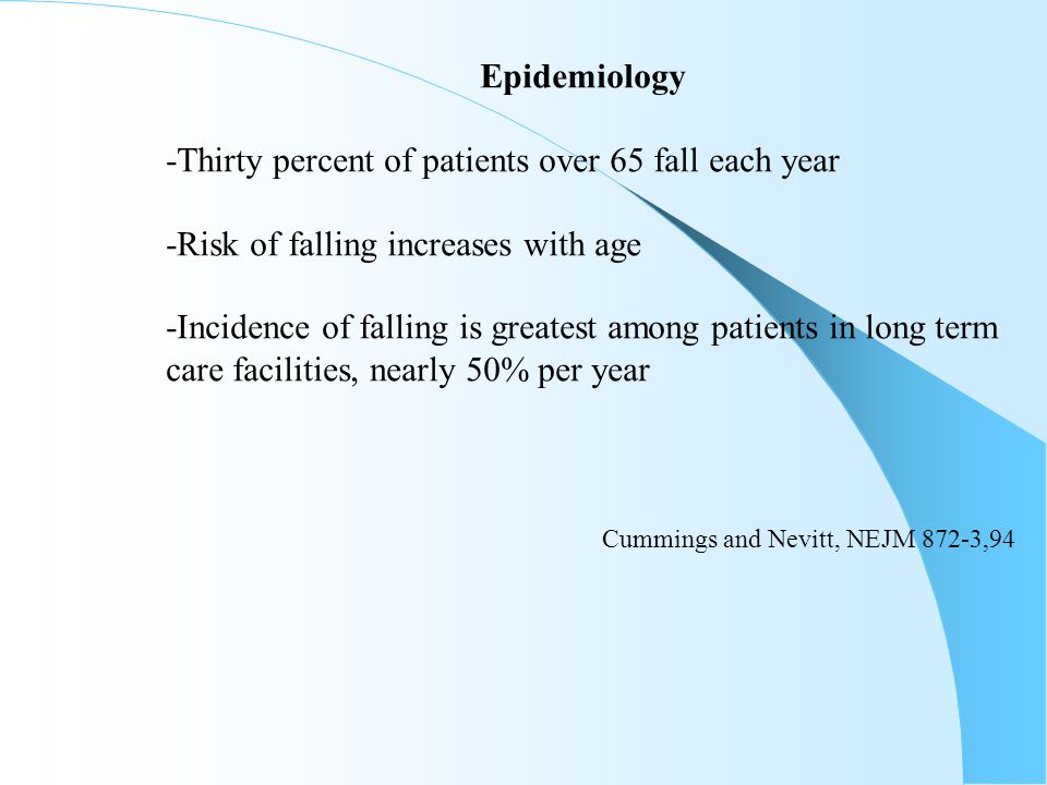 Epidemiology -Thirty percent of patients over 65 fall each year. -Risk of falling increases with age.