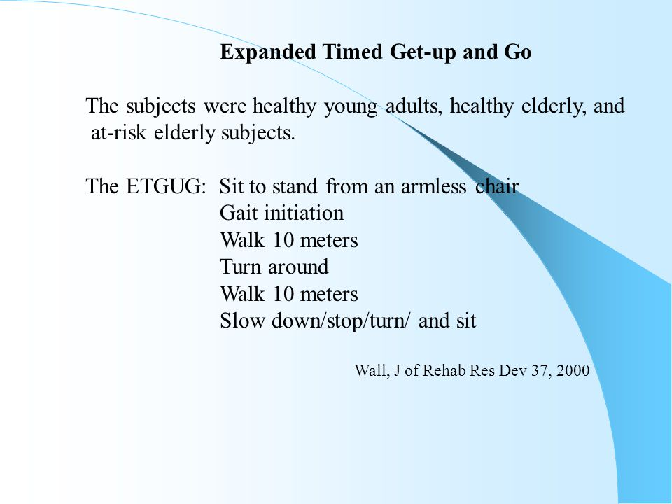 Expanded Timed Get-up and Go