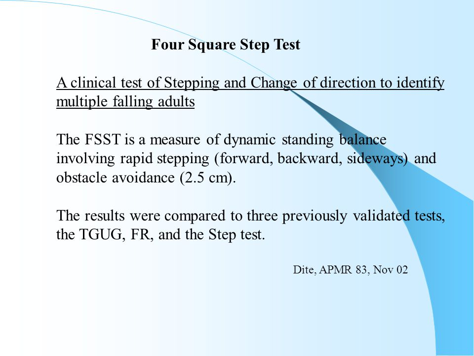 A clinical test of Stepping and Change of direction to identify