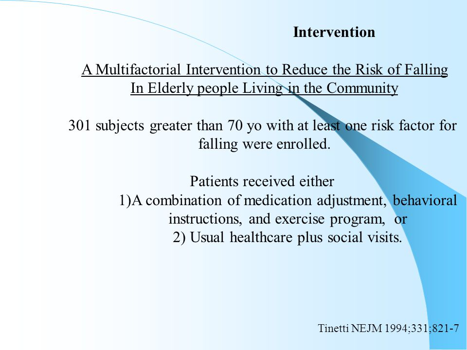 A Multifactorial Intervention to Reduce the Risk of Falling