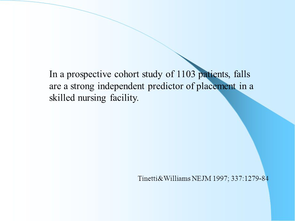 In a prospective cohort study of 1103 patients, falls