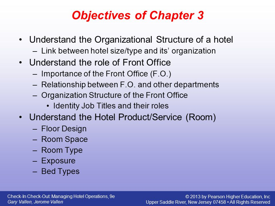 Objectives of Chapter 3 Understand the Organizational Structure of a hotel. Link between hotel size/type and its' organization.