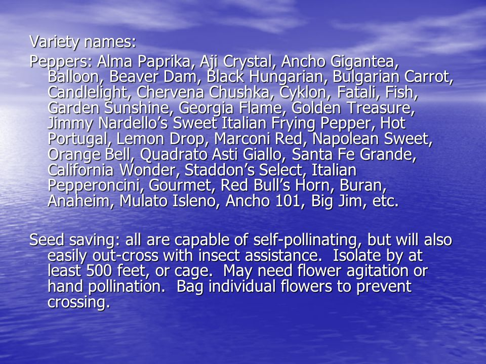 Variety names: