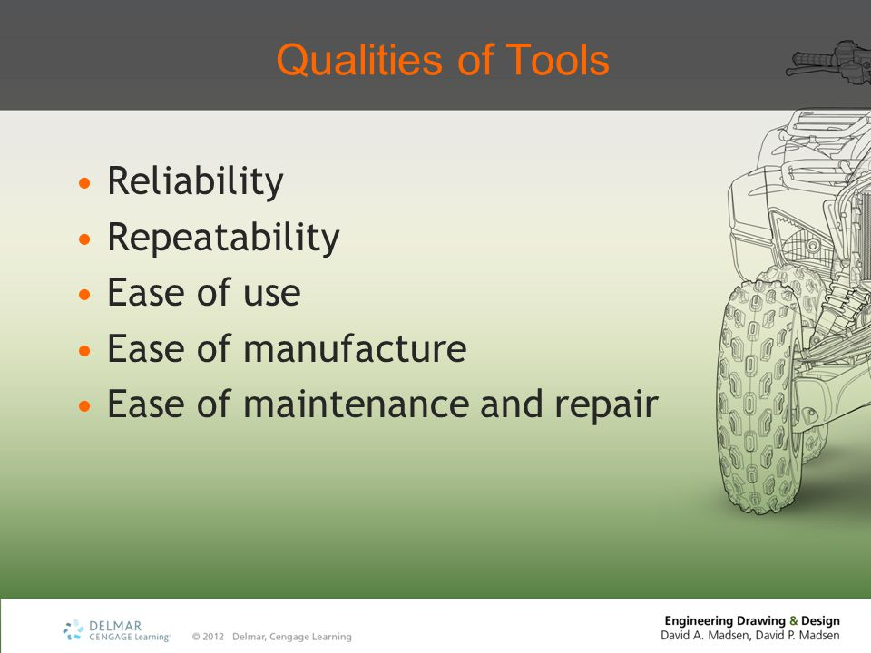 Qualities of Tools Reliability Repeatability Ease of use