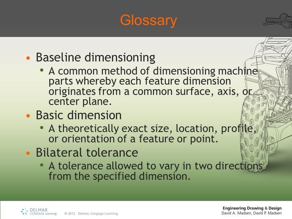 Glossary Baseline dimensioning Basic dimension Bilateral tolerance
