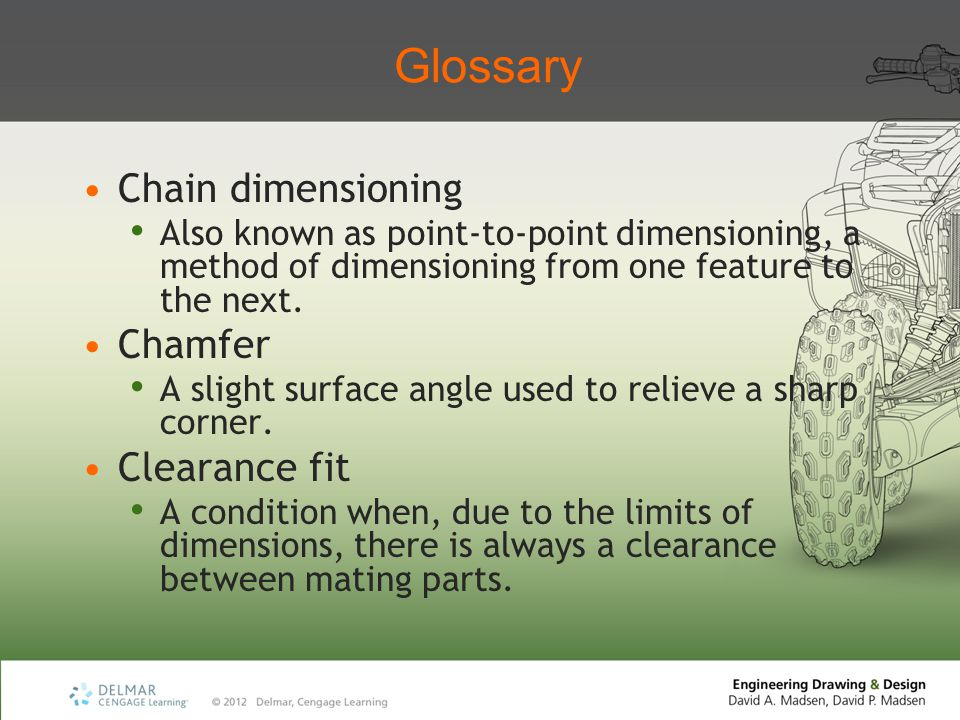 Glossary Chain dimensioning Chamfer Clearance fit