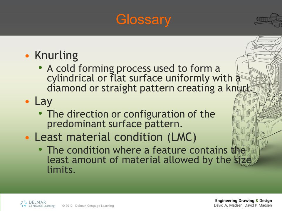 Glossary Knurling Lay Least material condition (LMC)