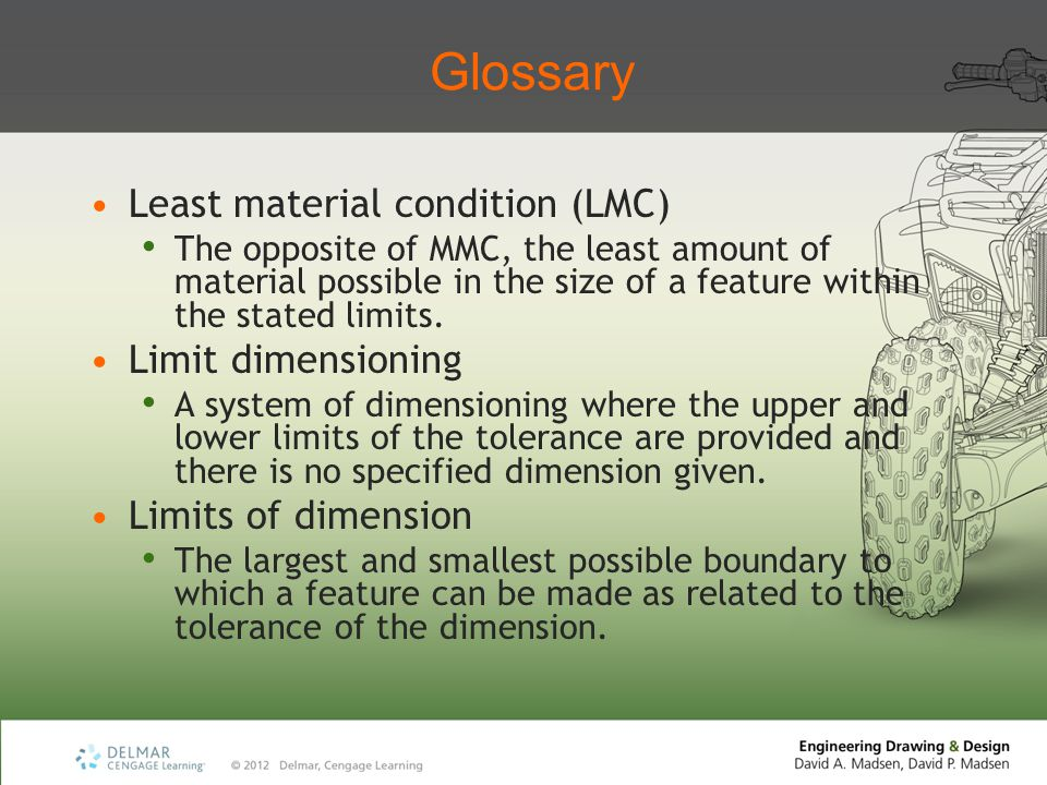 Glossary Least material condition (LMC) Limit dimensioning