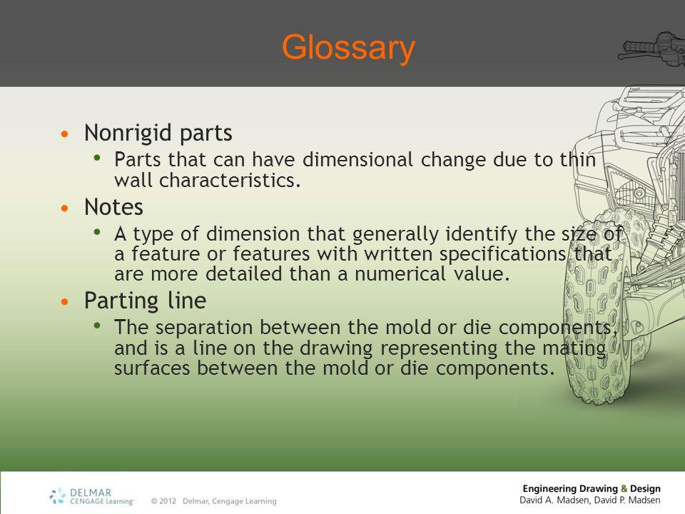 Glossary Nonrigid parts Notes Parting line