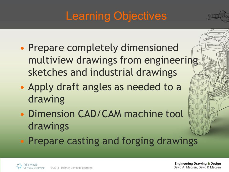 Learning Objectives Prepare completely dimensioned multiview drawings from engineering sketches and industrial drawings.