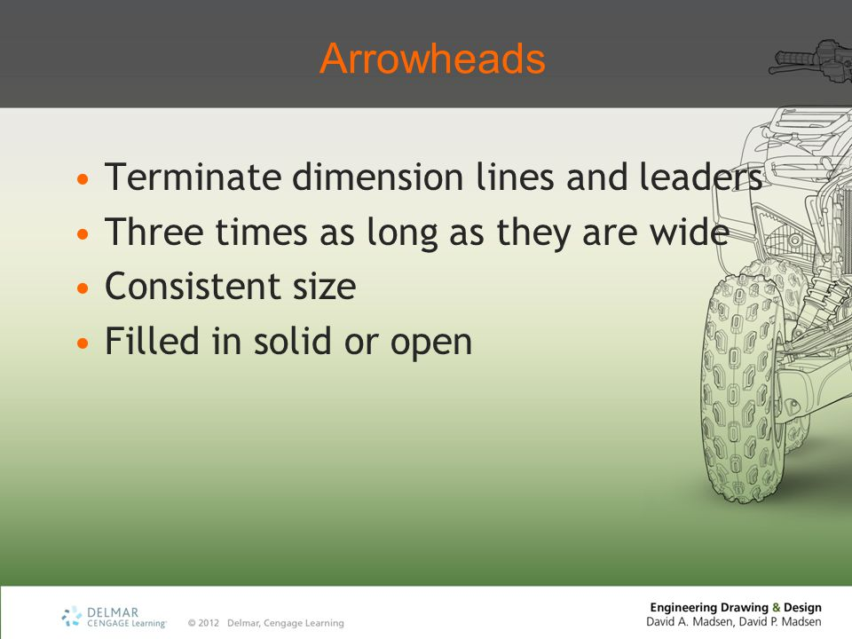 Arrowheads Terminate dimension lines and leaders