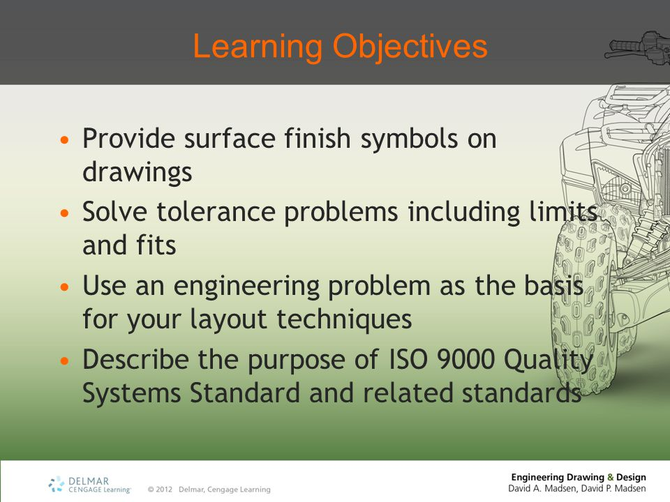 Learning Objectives Provide surface finish symbols on drawings