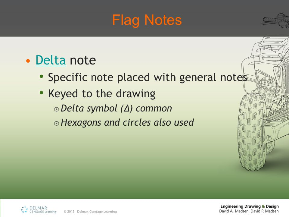 Flag Notes Delta note Specific note placed with general notes