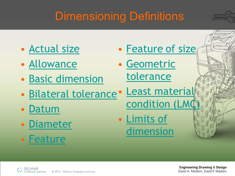 Dimensioning Definitions