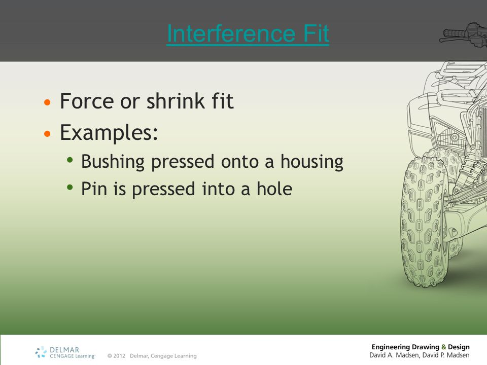 Interference Fit Force or shrink fit Examples:
