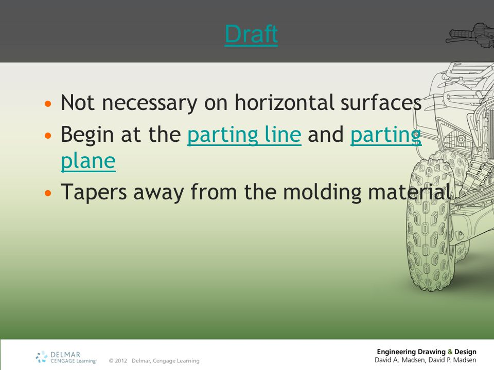 Draft Not necessary on horizontal surfaces