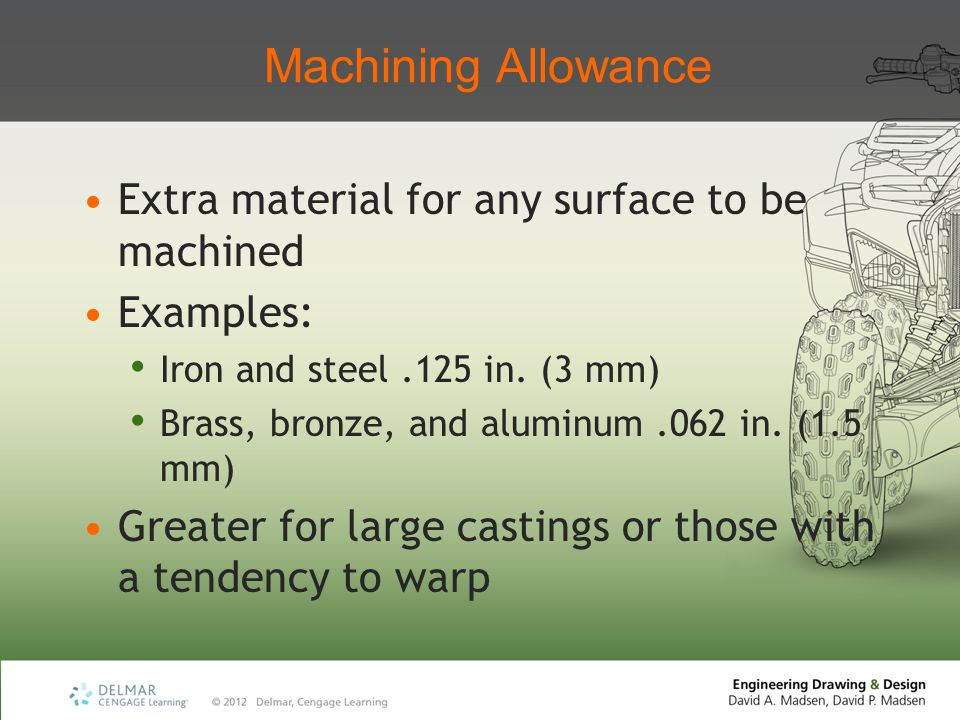 Machining Allowance Extra material for any surface to be machined