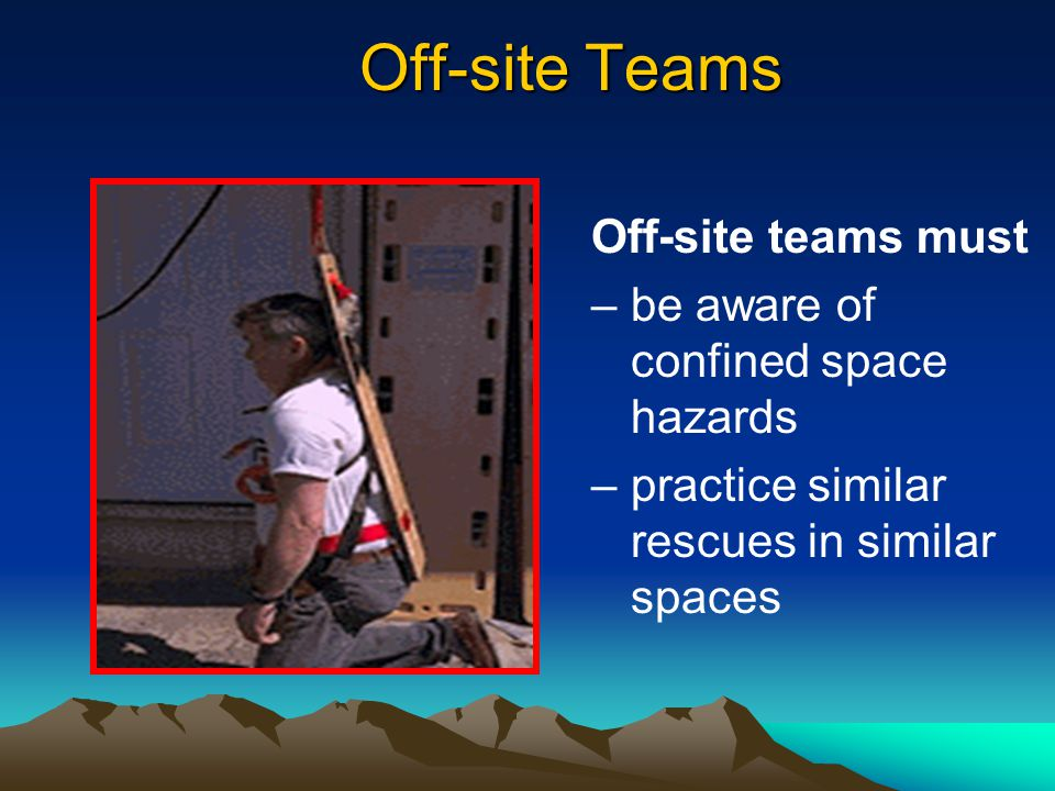 Off-site Teams Off-site teams must be aware of confined space hazards