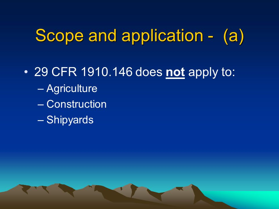Scope and application - (a)