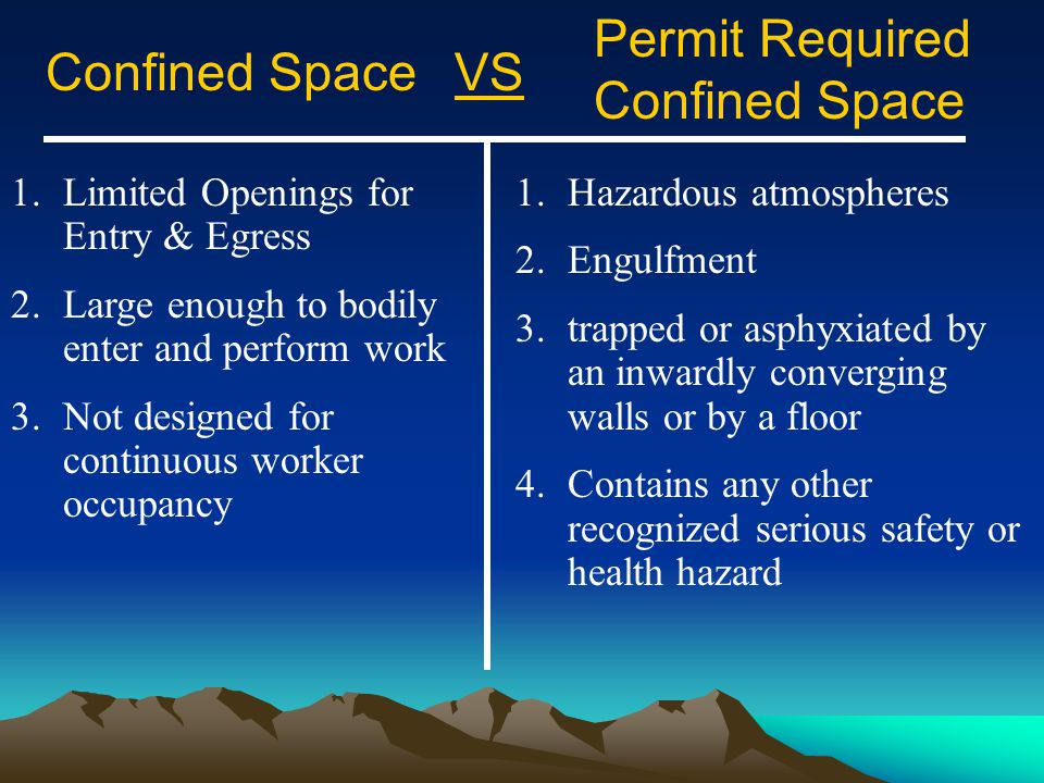 Permit Required Confined Space Confined Space VS
