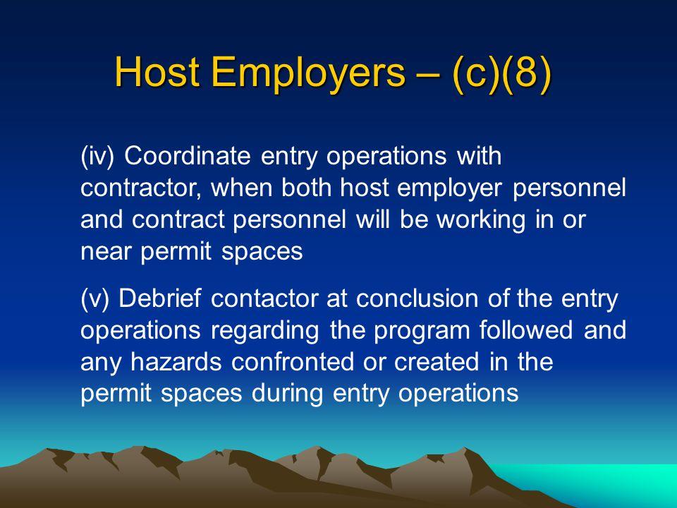 Host Employers – (c)(8)