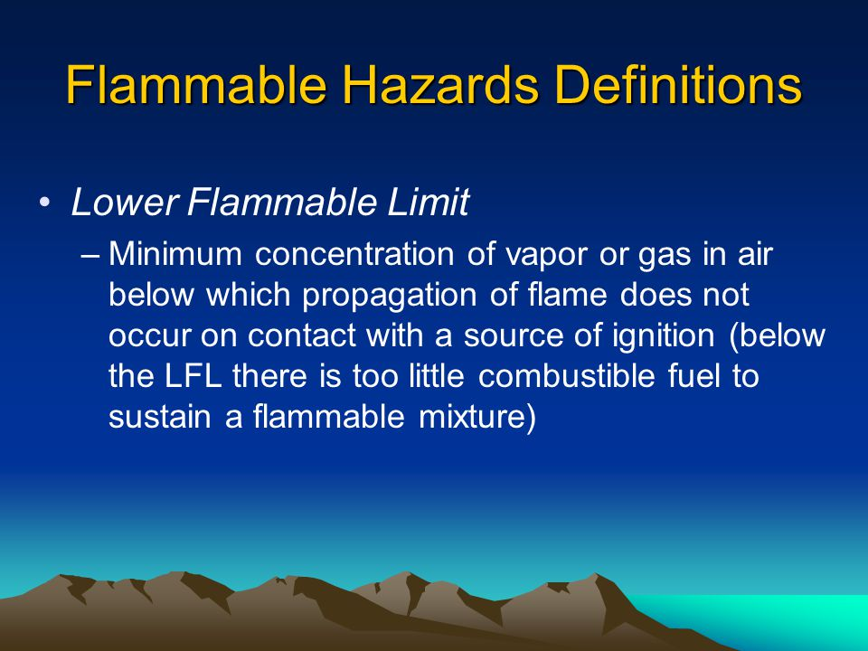 Flammable Hazards Definitions