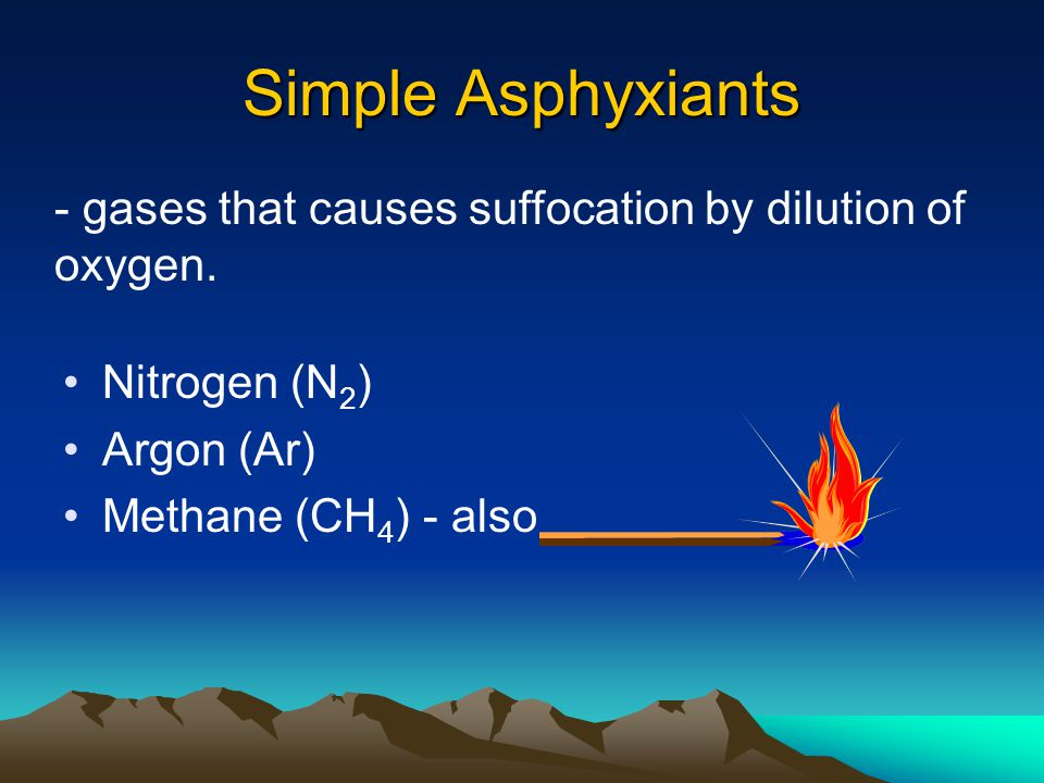 Simple Asphyxiants - gases that causes suffocation by dilution of oxygen. Nitrogen (N2) Argon (Ar)