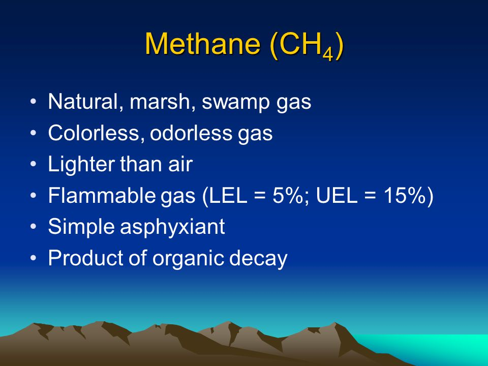 Methane (CH4) Natural, marsh, swamp gas Colorless, odorless gas