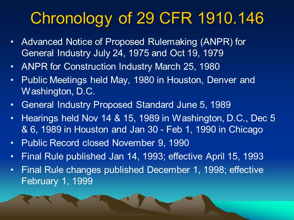 Chronology of 29 CFR 1910.146 Advanced Notice of Proposed Rulemaking (ANPR) for General Industry July 24, 1975 and Oct 19, 1979.