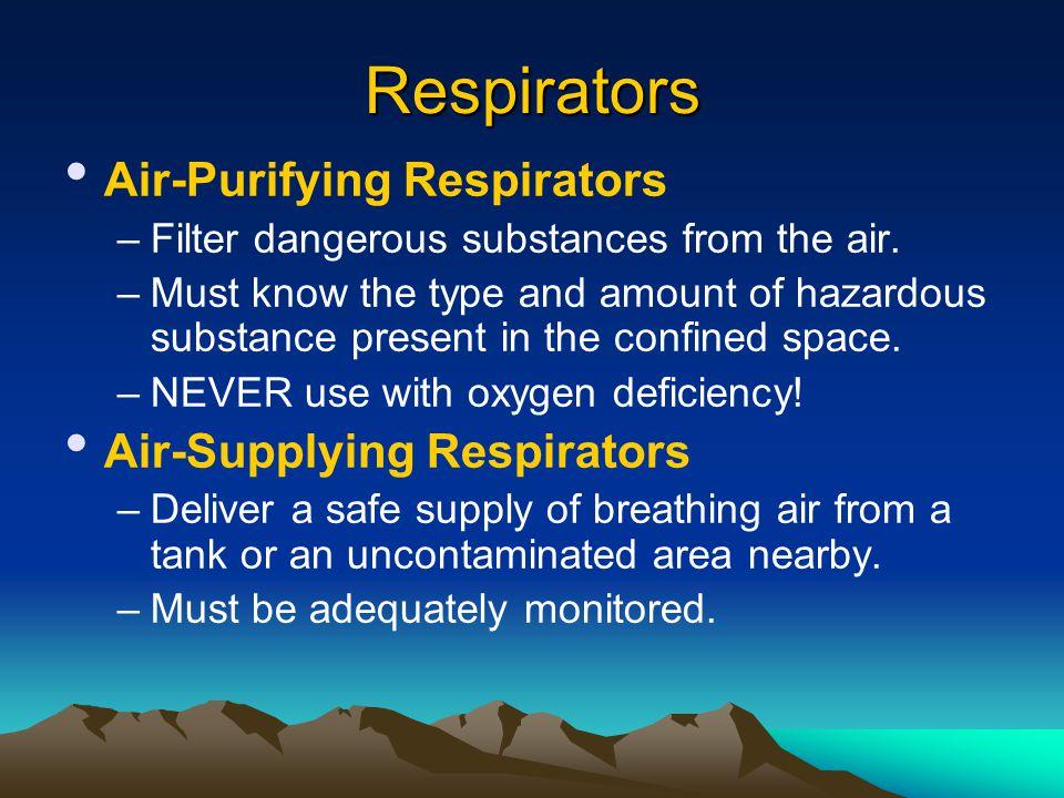 Respirators Air-Purifying Respirators Air-Supplying Respirators