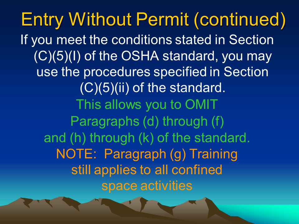 Entry Without Permit (continued)