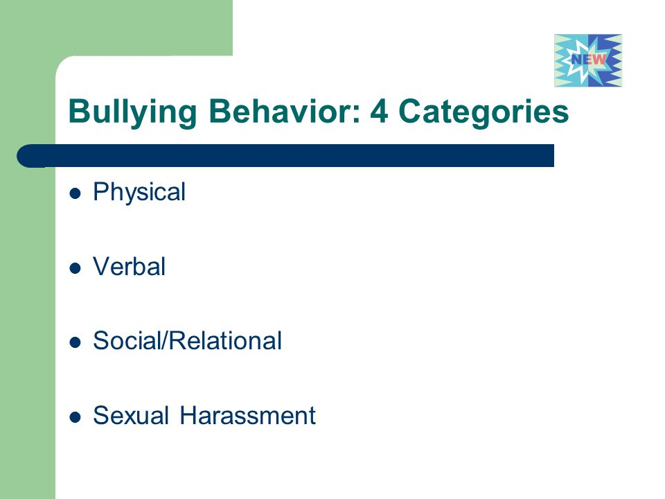 Bullying Behavior: 4 Categories