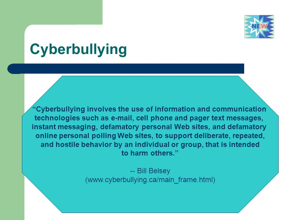 Cyberbullying Cyberbullying involves the use of information and communication. technologies such as e-mail, cell phone and pager text messages,
