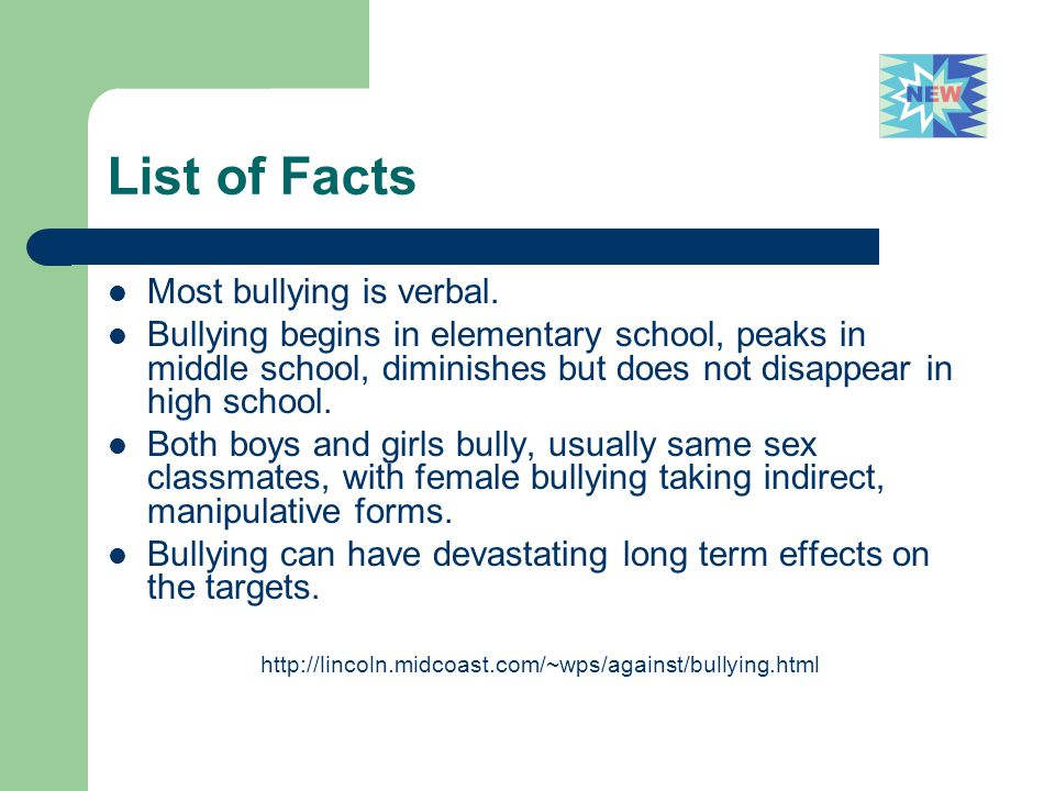 List of Facts Most bullying is verbal.