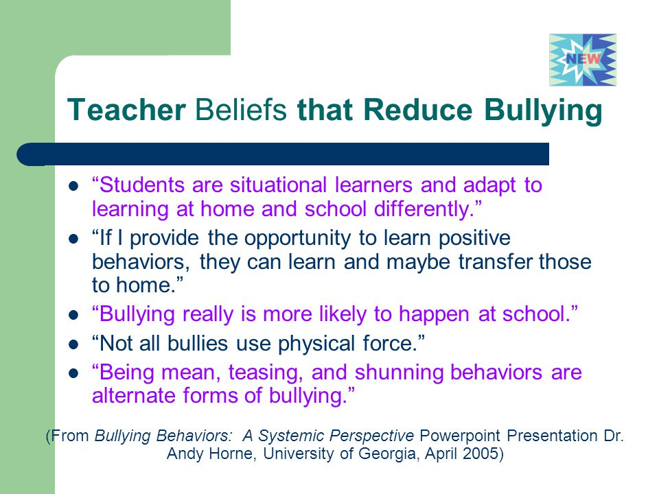 Teacher Beliefs that Reduce Bullying