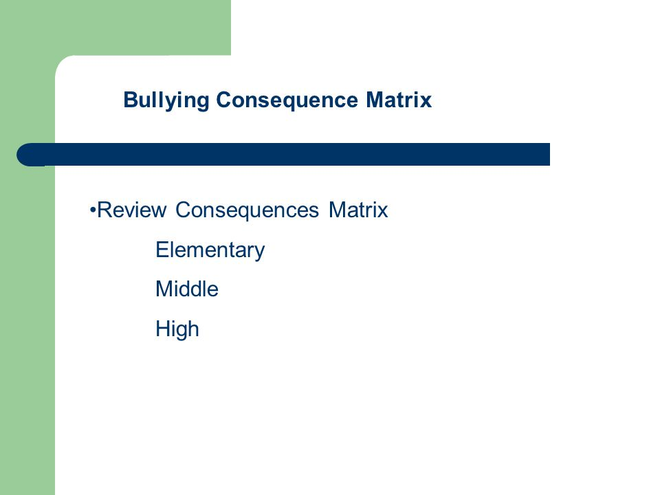 Bullying Consequence Matrix