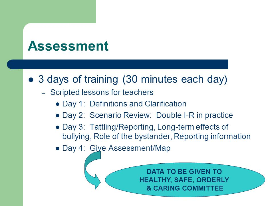 Assessment 3 days of training (30 minutes each day)