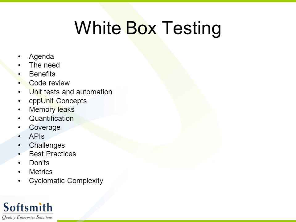 White Box Testing Agenda The need Benefits Code review