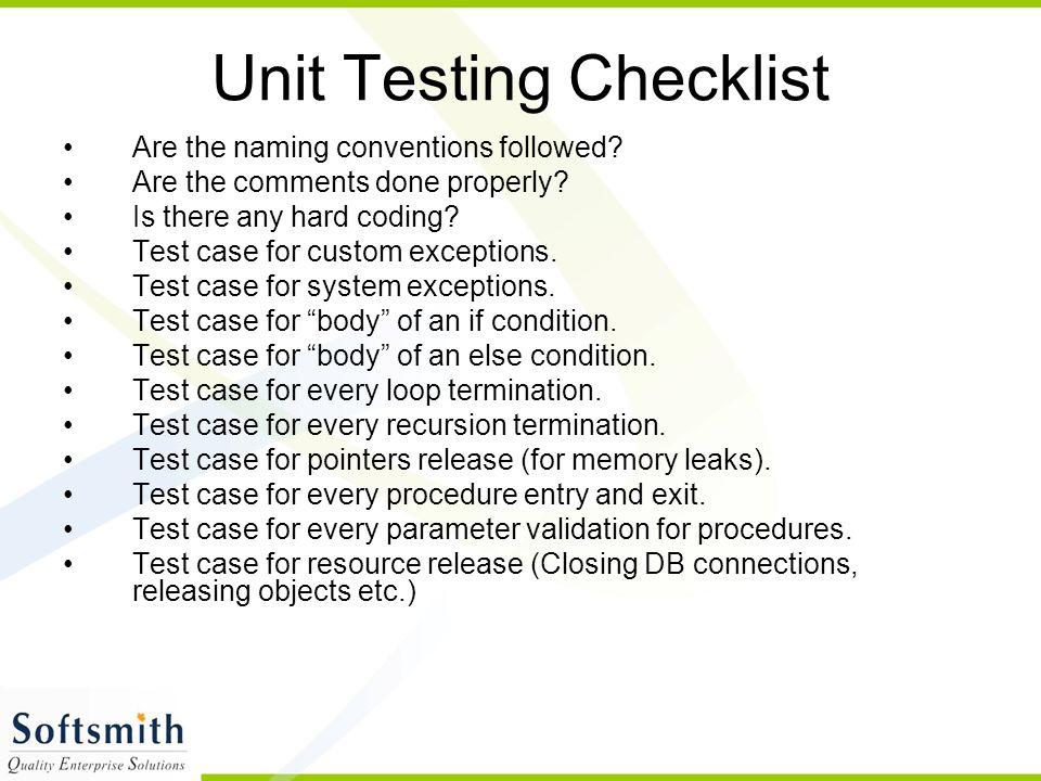 Unit Testing Checklist