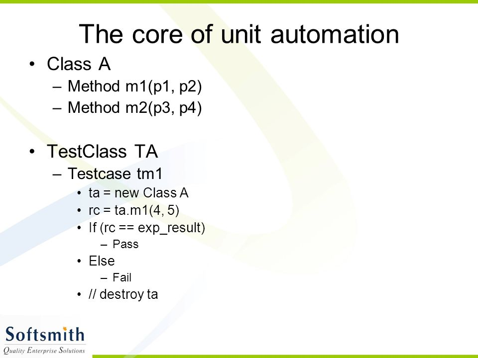 The core of unit automation
