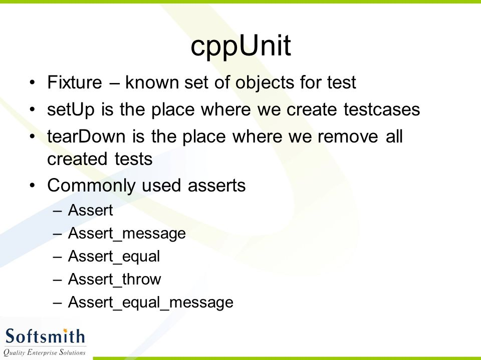 cppUnit Fixture – known set of objects for test