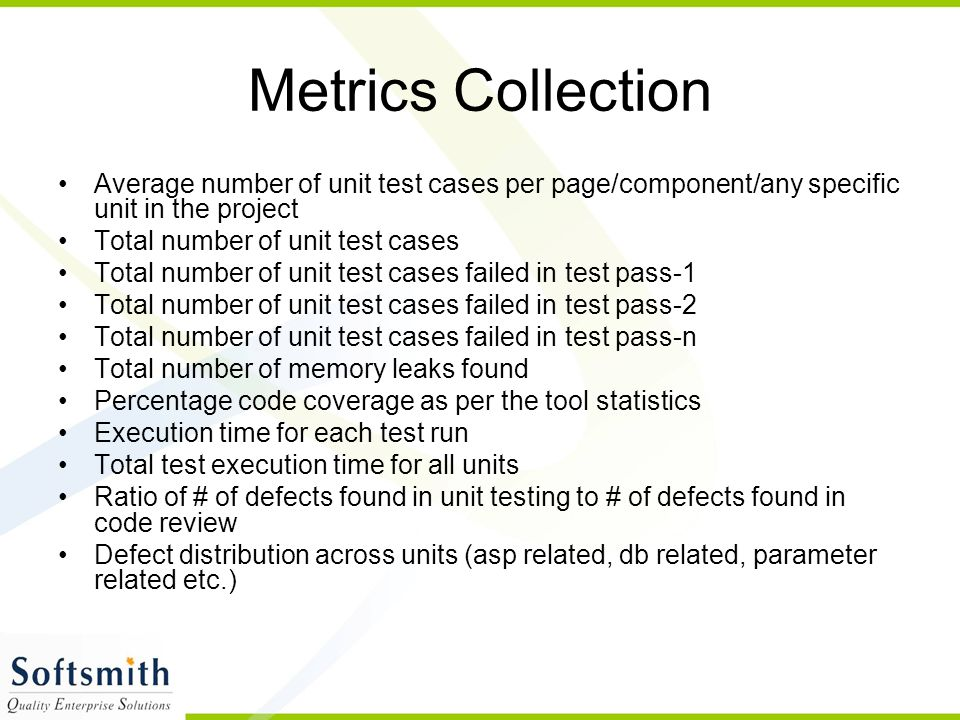 Metrics Collection Average number of unit test cases per page/component/any specific unit in the project.