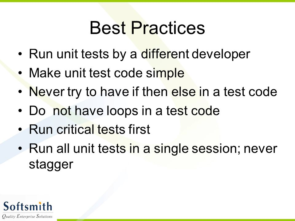 Best Practices Run unit tests by a different developer