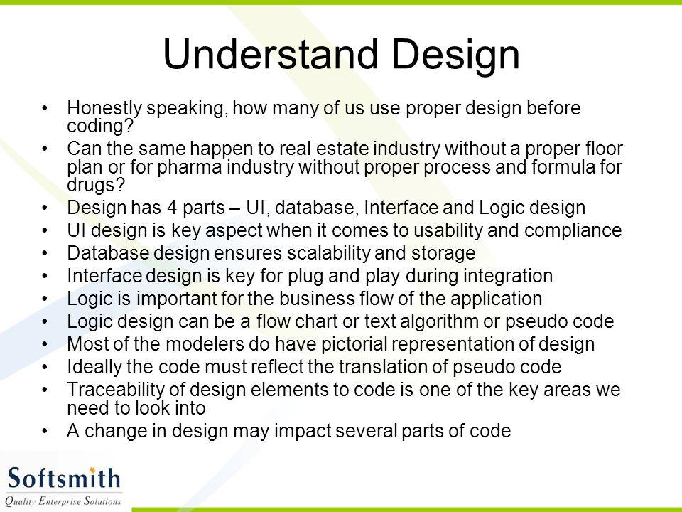 Understand Design Honestly speaking, how many of us use proper design before coding